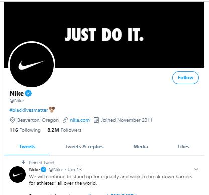 Nike company branding on tweeter