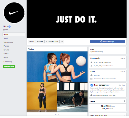 Nike company branding on Facebook page