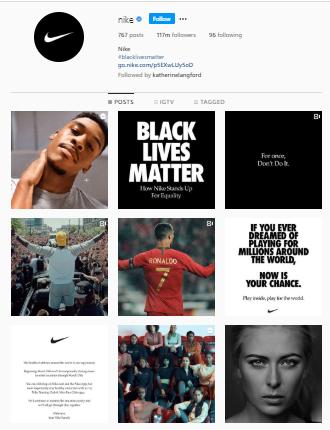 Nike company branding on Instagram